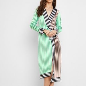 Never fully dressed Margot stripe wrap dress